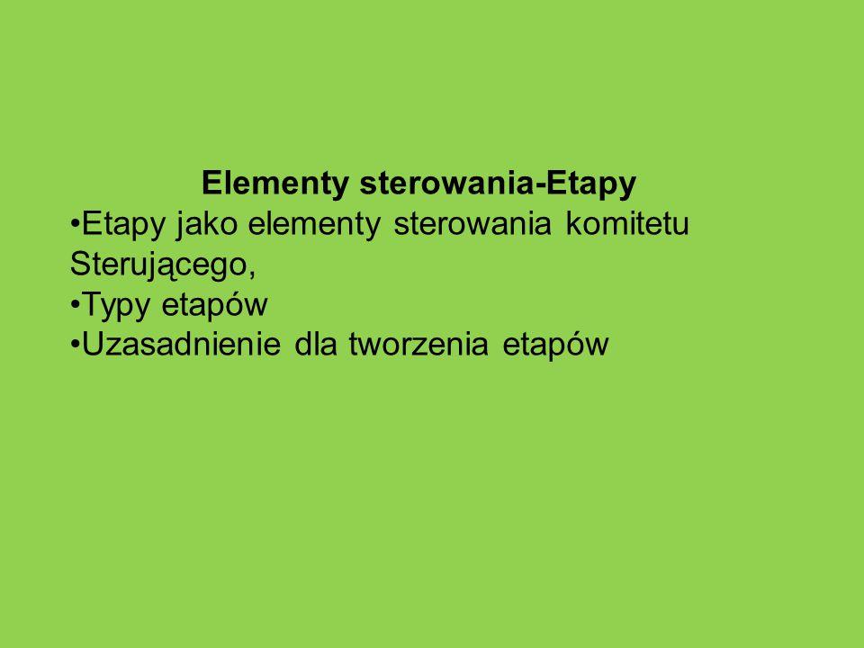 Elementy sterowania-Etapy Etapy jako elementy sterowania komitetu Sterującego, Typy etapów Uzasadnienie dla tworzenia etapów