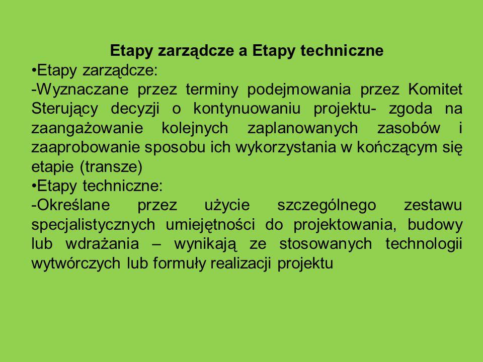 Etapy zarządcze a Etapy techniczne Etapy zarządcze: -Wyznaczane przez terminy podejmowania przez Komitet Sterujący decyzji o kontynuowaniu projektu- z