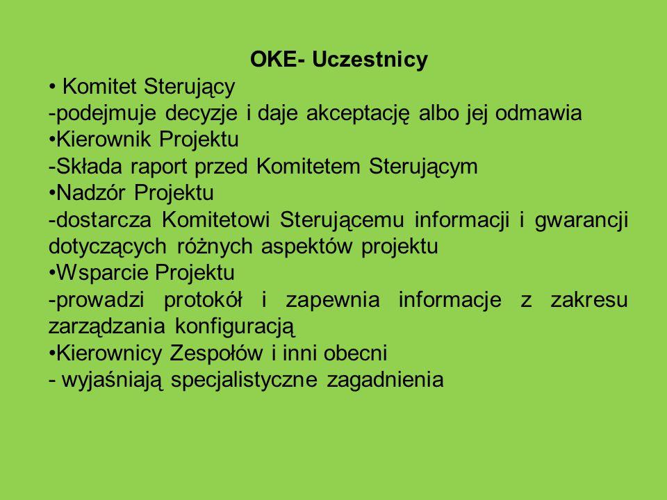 OKE- Uczestnicy Komitet Sterujący -podejmuje decyzje i daje akceptację albo jej odmawia Kierownik Projektu -Składa raport przed Komitetem Sterującym N