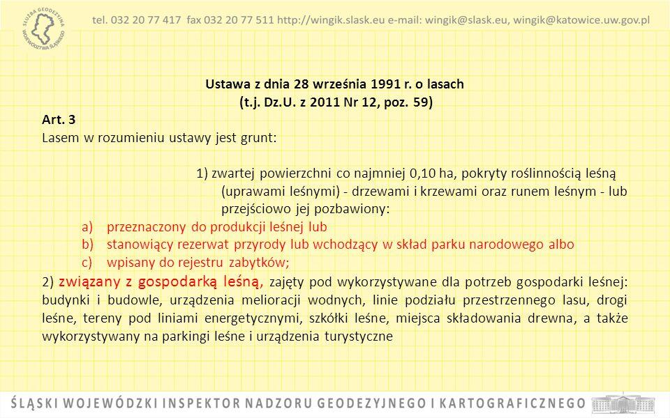 Ustawa z dnia 28 września 1991 r. o lasach (t.j. Dz.U. z 2011 Nr 12, poz. 59) Art. 3 Lasem w rozumieniu ustawy jest grunt: 1) zwartej powierzchni co n