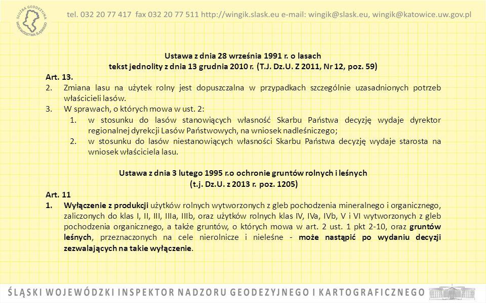 Ustawa z dnia 28 września 1991 r. o lasach tekst jednolity z dnia 13 grudnia 2010 r. (T.J. Dz.U. Z 2011, Nr 12, poz. 59) Art. 13. 2.Zmiana lasu na uży