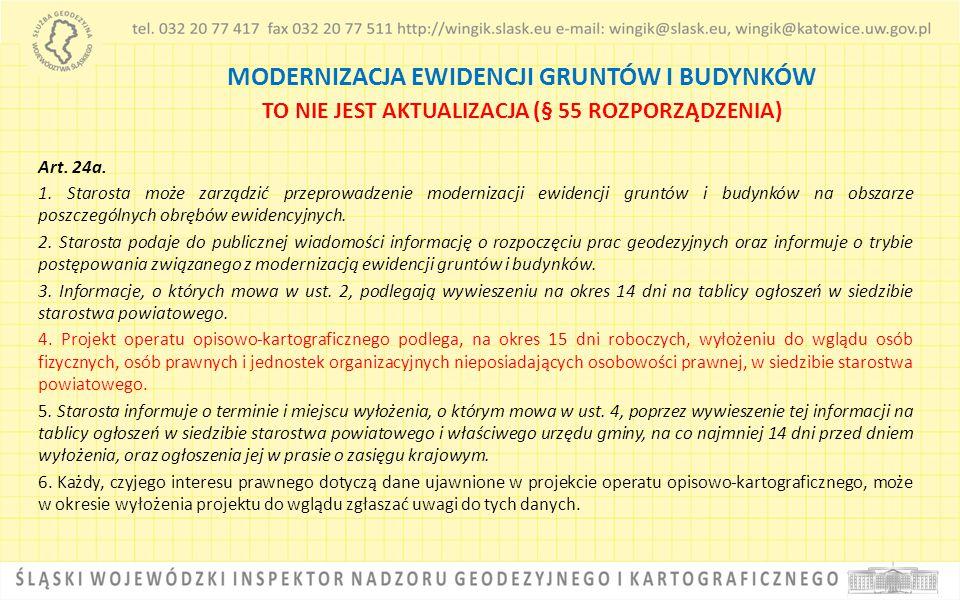 MODERNIZACJA EWIDENCJI GRUNTÓW I BUDYNKÓW TO NIE JEST AKTUALIZACJA (§ 55 ROZPORZĄDZENIA) Art. 24a. 1. Starosta może zarządzić przeprowadzenie moderniz
