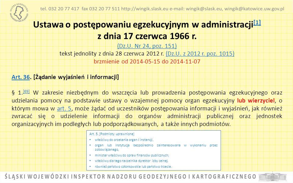 Ustawa o postępowaniu egzekucyjnym w administracji [1] [1] z dnia 17 czerwca 1966 r. (Dz.U. Nr 24, poz. 151) tekst jednolity z dnia 28 czerwca 2012 r.