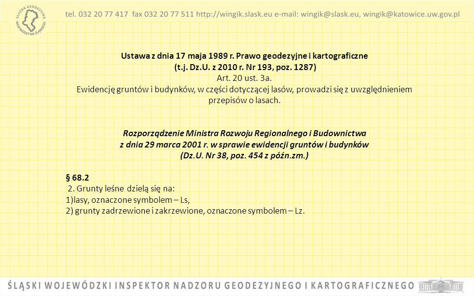 Ustawa z dnia 17 maja 1989 r. Prawo geodezyjne i kartograficzne (t.j. Dz.U. z 2010 r. Nr 193, poz. 1287) Art. 20 ust. 3a. Ewidencję gruntów i budynków