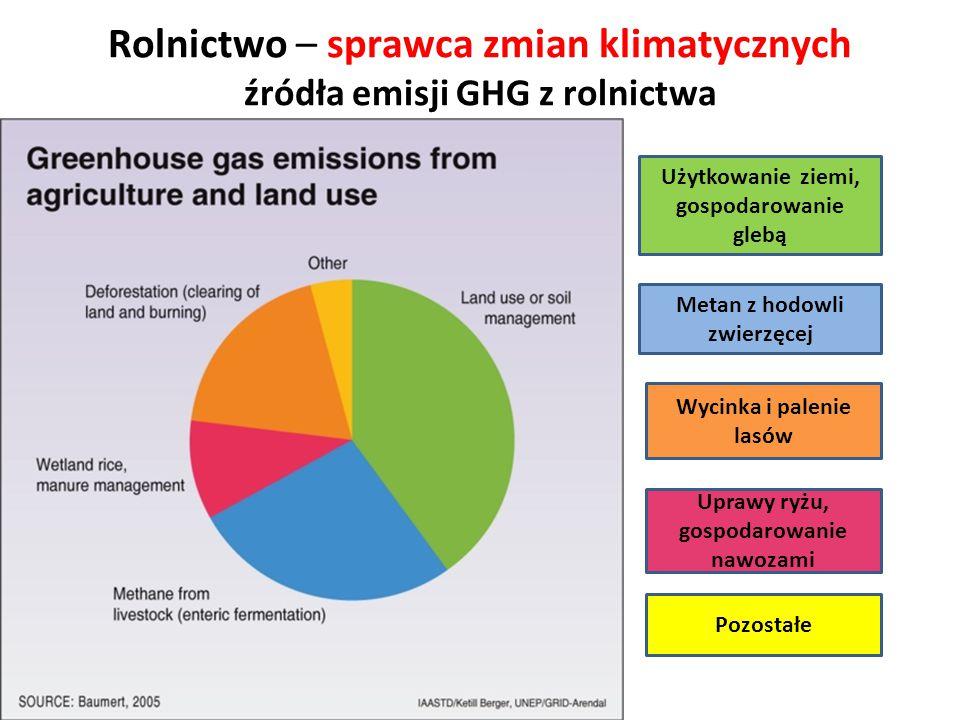 Rolnictwo – sprawca zmian klimatycznych źródła emisji GHG z rolnictwa Wycinka i palenie lasów Metan z hodowli zwierzęcej Użytkowanie ziemi, gospodarow
