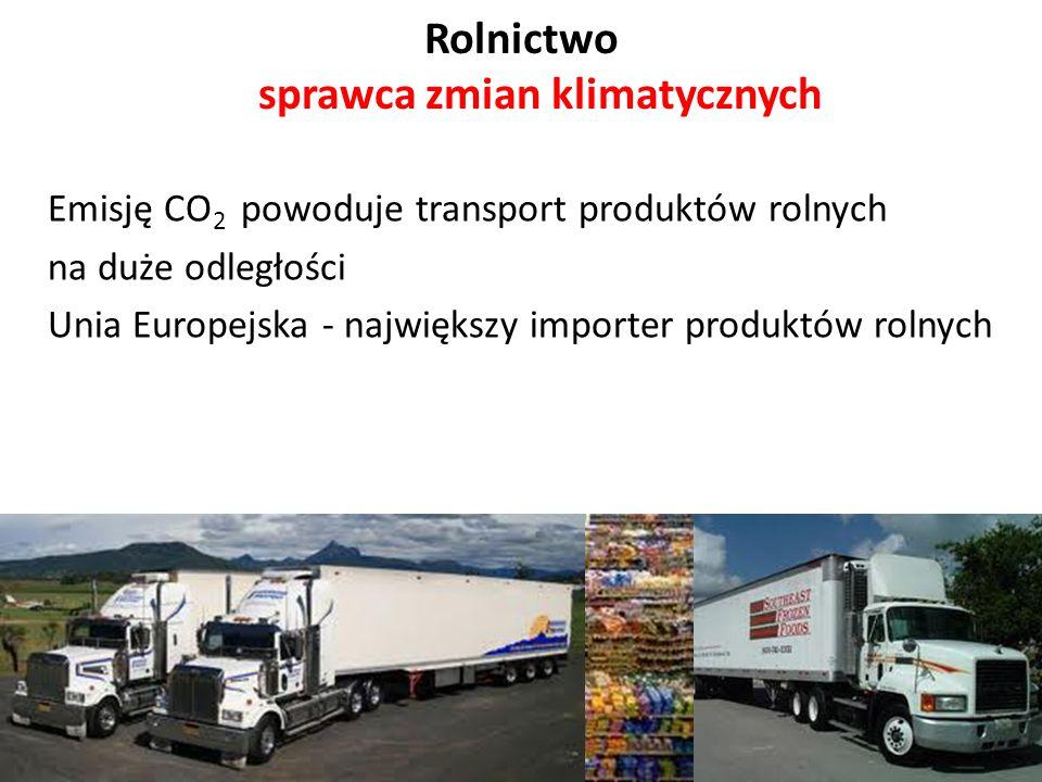 Rolnictwo sprawca zmian klimatycznych Emisję CO 2 powoduje transport produktów rolnych na duże odległości Unia Europejska - największy importer produk