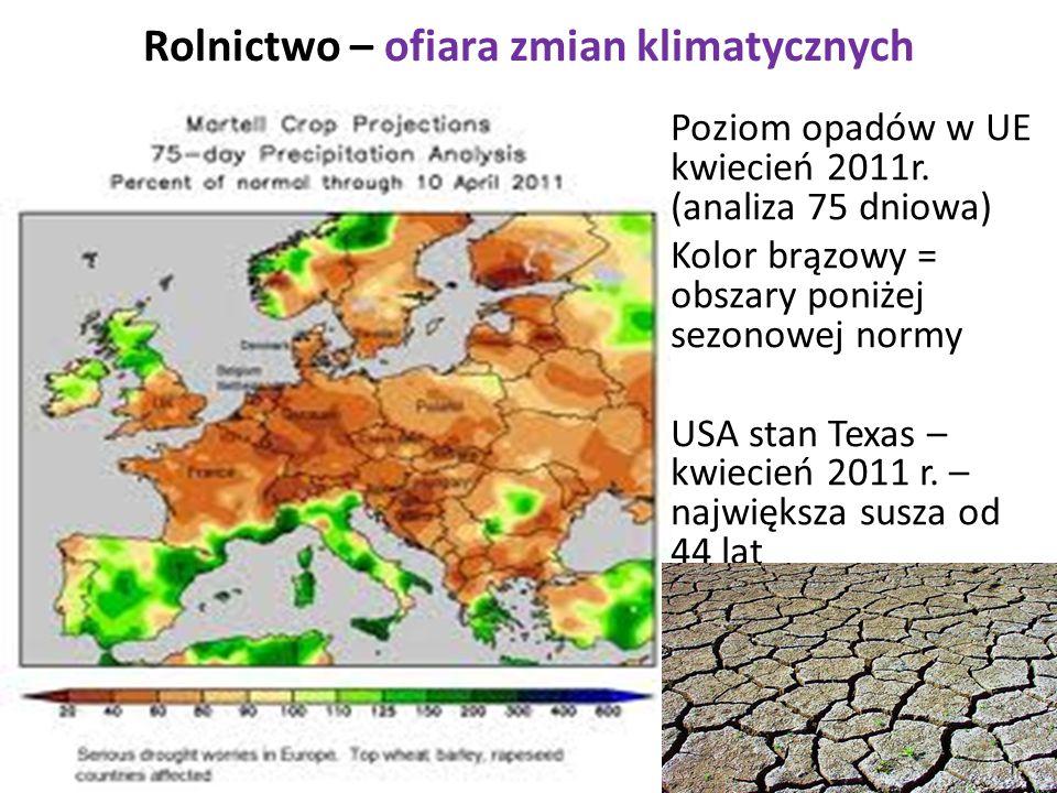 Rolnictwo – ofiara zmian klimatycznych Poziom opadów w UE kwiecień 2011r. (analiza 75 dniowa) Kolor brązowy = obszary poniżej sezonowej normy USA stan