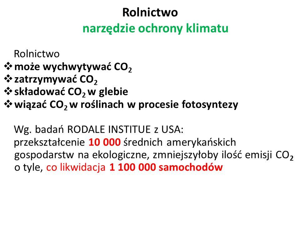 Rolnictwo narzędzie ochrony klimatu Rolnictwo  może wychwytywać CO 2  zatrzymywać CO 2  składować CO 2 w glebie  wiązać CO 2 w roślinach w procesi