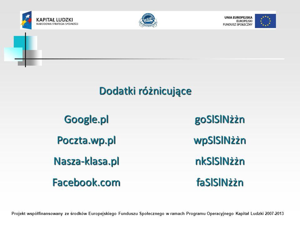 Projekt współfinansowany ze środków Europejskiego Funduszu Społecznego w ramach Programu Operacyjnego Kapitał Ludzki 2007-2013 Dodatki różnicujące Google.plPoczta.wp.plNasza-klasa.plFacebook.comgoSlSlNżżnwpSlSlNżżnnkSlSlNżżnfaSlSlNżżn