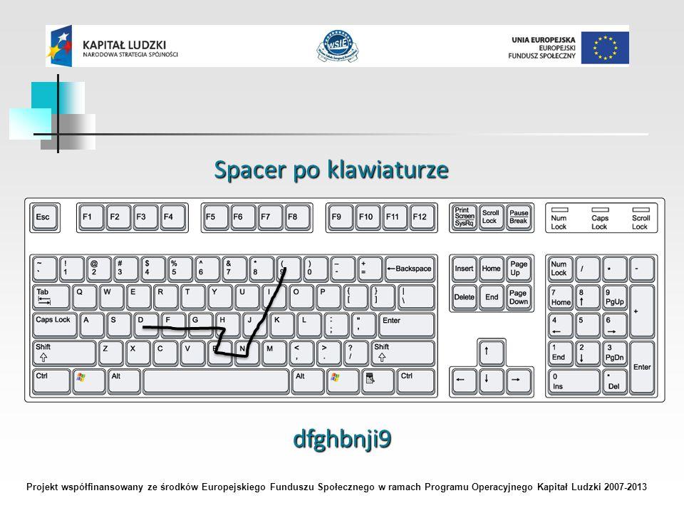 Projekt współfinansowany ze środków Europejskiego Funduszu Społecznego w ramach Programu Operacyjnego Kapitał Ludzki 2007-2013 Spacer po klawiaturze dfghbnji9