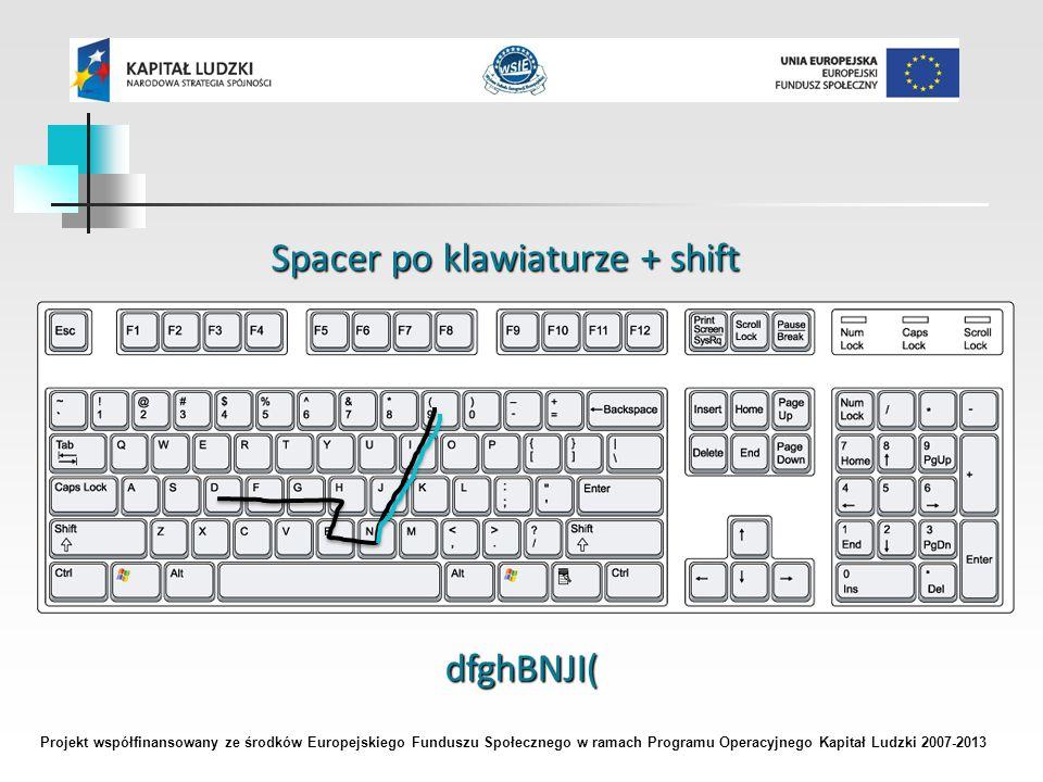 Projekt współfinansowany ze środków Europejskiego Funduszu Społecznego w ramach Programu Operacyjnego Kapitał Ludzki 2007-2013 Spacer po klawiaturze + shift dfghBNJI(