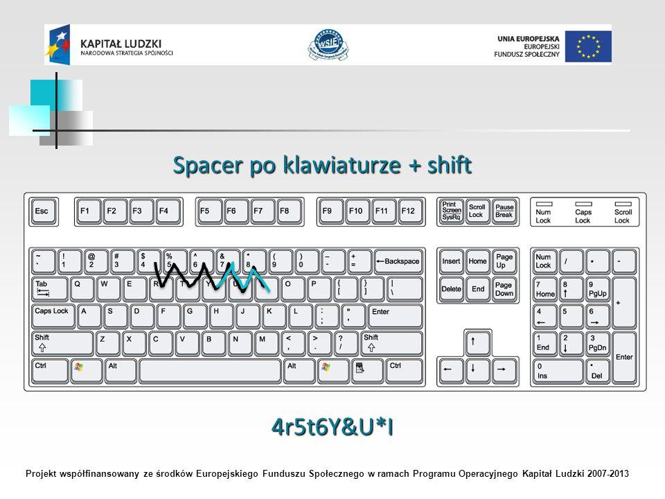Projekt współfinansowany ze środków Europejskiego Funduszu Społecznego w ramach Programu Operacyjnego Kapitał Ludzki 2007-2013 Spacer po klawiaturze + shift 4r5t6Y&U*I