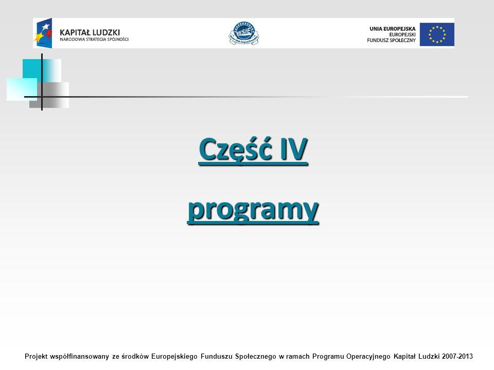 Część IV programy Projekt współfinansowany ze środków Europejskiego Funduszu Społecznego w ramach Programu Operacyjnego Kapitał Ludzki 2007-2013