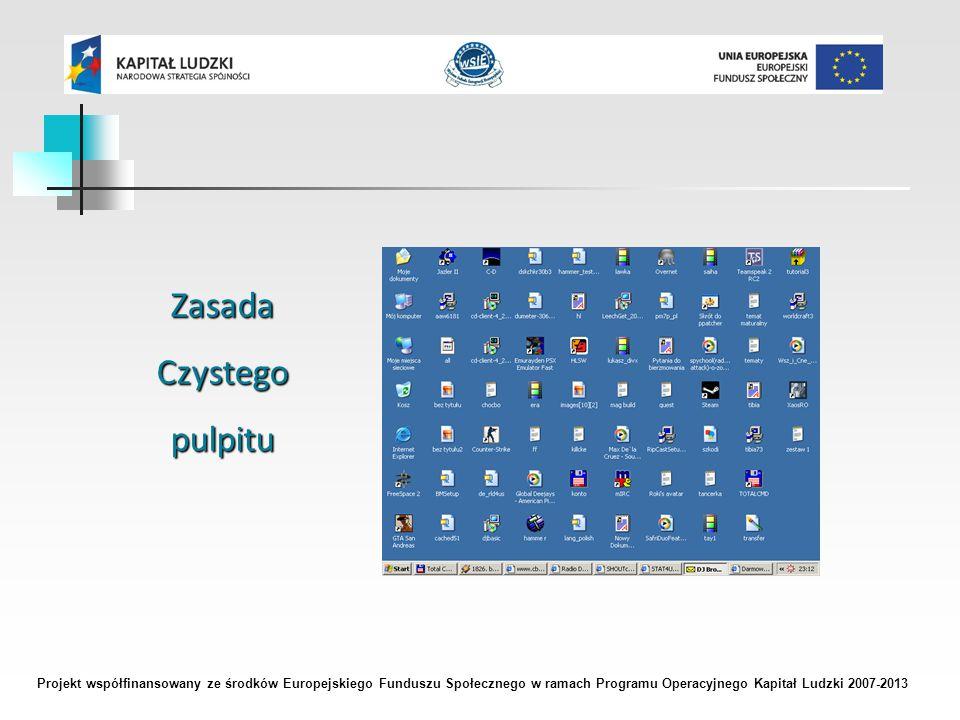 Projekt współfinansowany ze środków Europejskiego Funduszu Społecznego w ramach Programu Operacyjnego Kapitał Ludzki 2007-2013 ZasadaCzystegopulpitu