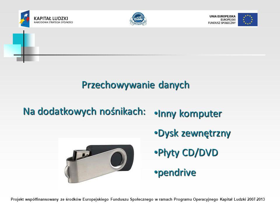 Projekt współfinansowany ze środków Europejskiego Funduszu Społecznego w ramach Programu Operacyjnego Kapitał Ludzki 2007-2013 Przechowywanie danych Na dodatkowych nośnikach: Inny komputer Inny komputer Dysk zewnętrzny Dysk zewnętrzny Płyty CD/DVD Płyty CD/DVD pendrive pendrive