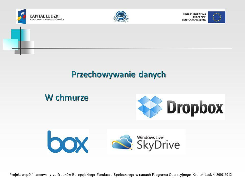 Projekt współfinansowany ze środków Europejskiego Funduszu Społecznego w ramach Programu Operacyjnego Kapitał Ludzki 2007-2013 Przechowywanie danych W chmurze