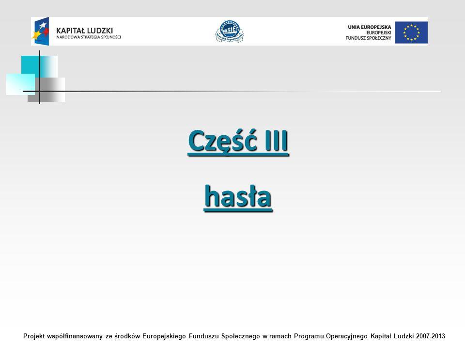 Część III hasła Projekt współfinansowany ze środków Europejskiego Funduszu Społecznego w ramach Programu Operacyjnego Kapitał Ludzki 2007-2013
