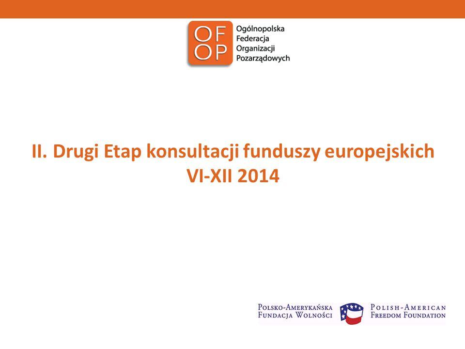 II. Drugi Etap konsultacji funduszy europejskich VI-XII 2014