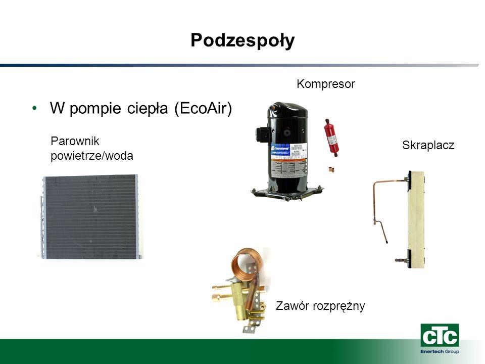 Podzespoły W pompie ciepła (EcoAir) Kompresor Skraplacz Zawór rozprężny Parownik powietrze/woda