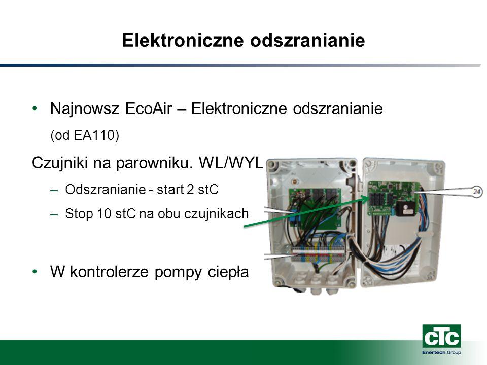 Elektroniczne odszranianie Najnowsz EcoAir – Elektroniczne odszranianie (od EA110) Czujniki na parowniku. WL/WYL –Odszranianie - start 2 stC –Stop 10