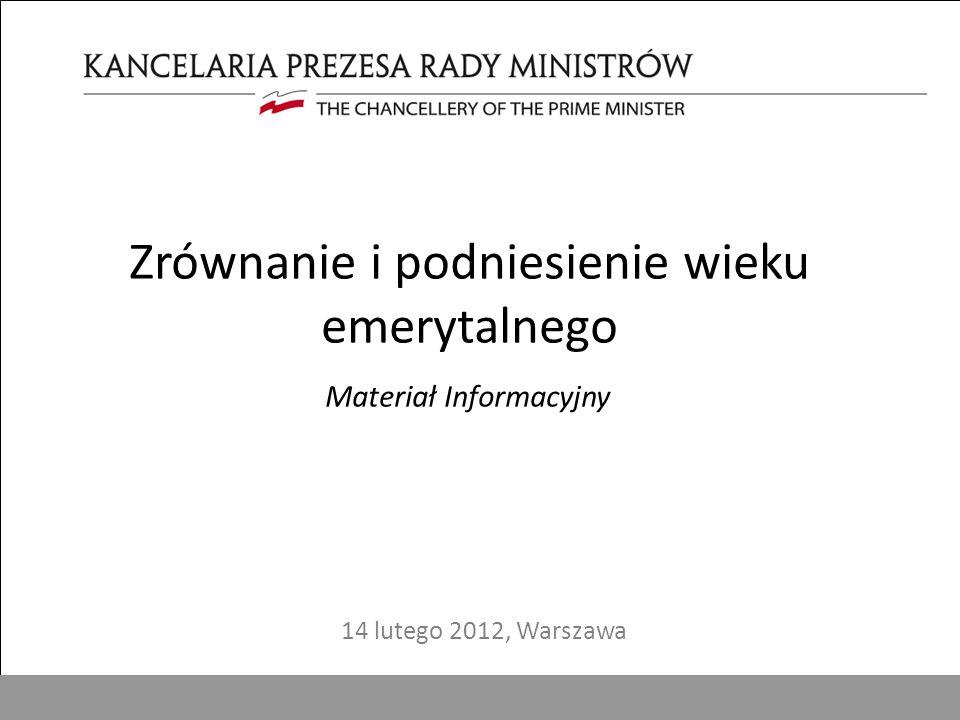 1 Zrównanie i podniesienie wieku emerytalnego Materiał Informacyjny 14 lutego 2012, Warszawa