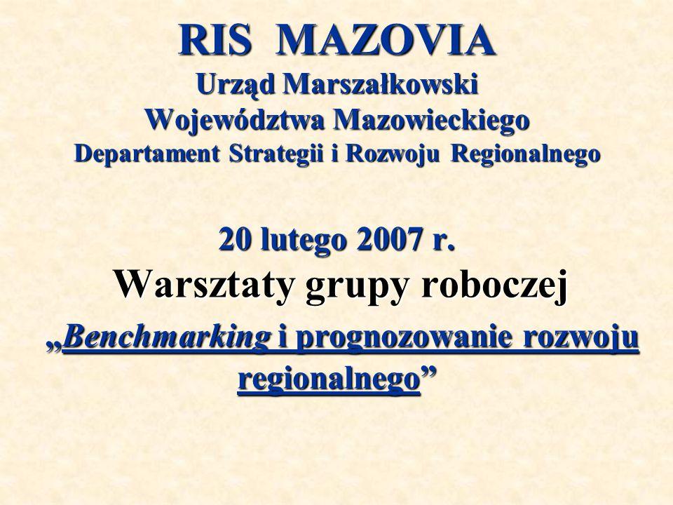 """RIS MAZOVIA Urząd Marszałkowski Województwa Mazowieckiego Departament Strategii i Rozwoju Regionalnego 20 lutego 2007 r. Warsztaty grupy roboczej """"Ben"""
