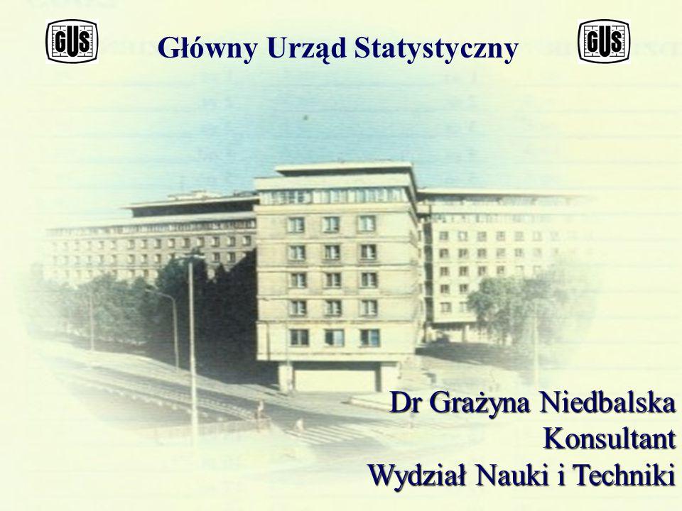 Główny Urząd Statystyczny Dr Grażyna Niedbalska Konsultant Wydział Nauki i Techniki