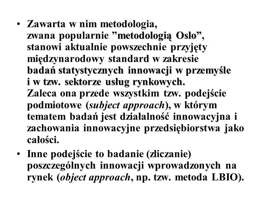 """metodologią Oslo"""" badań statystycznych innowacji w przemyśle i w tzw. sektorze usług rynkowych.Zawarta w nim metodologia, zwana popularnie """"metodologi"""