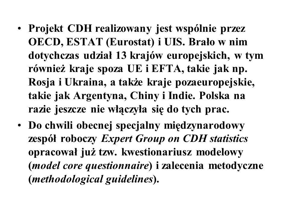 Projekt CDH realizowany jest wspólnie przez OECD, ESTAT (Eurostat) i UIS. Brało w nim dotychczas udział 13 krajów europejskich, w tym również kraje sp