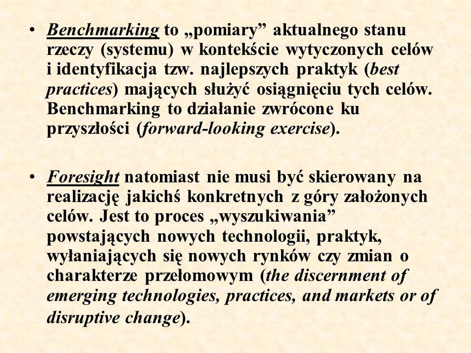 """Benchmarking to """"pomiary"""" aktualnego stanu rzeczy (systemu) w kontekście wytyczonych celów i identyfikacja tzw. najlepszych praktyk (best practices) m"""
