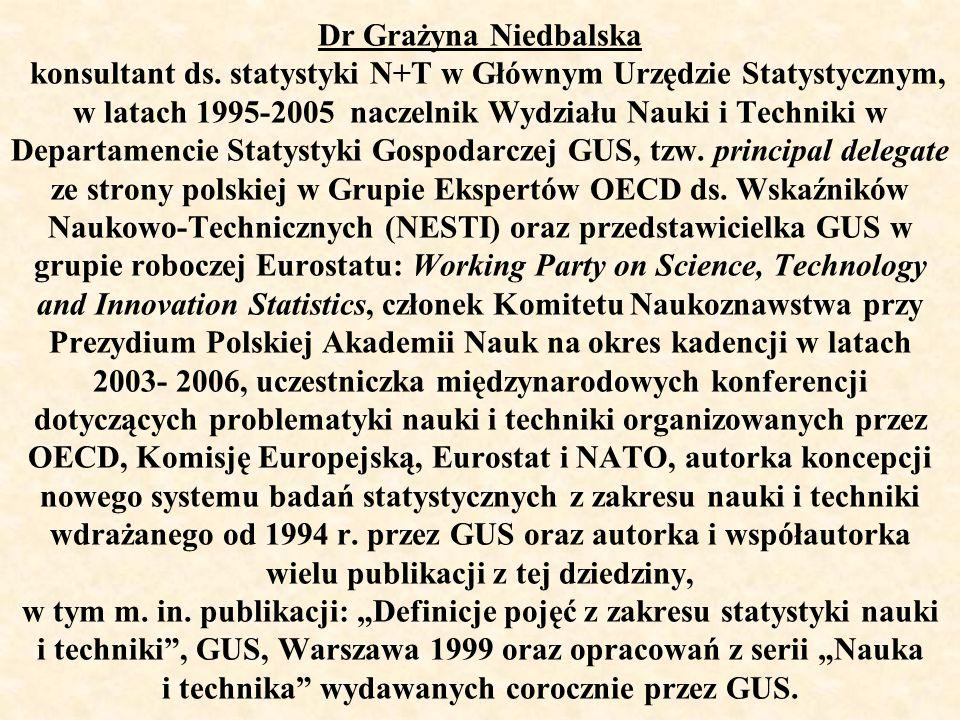 Dr Grażyna Niedbalska konsultant ds. statystyki N+T w Głównym Urzędzie Statystycznym, w latach 1995-2005 naczelnik Wydziału Nauki i Techniki w Departa