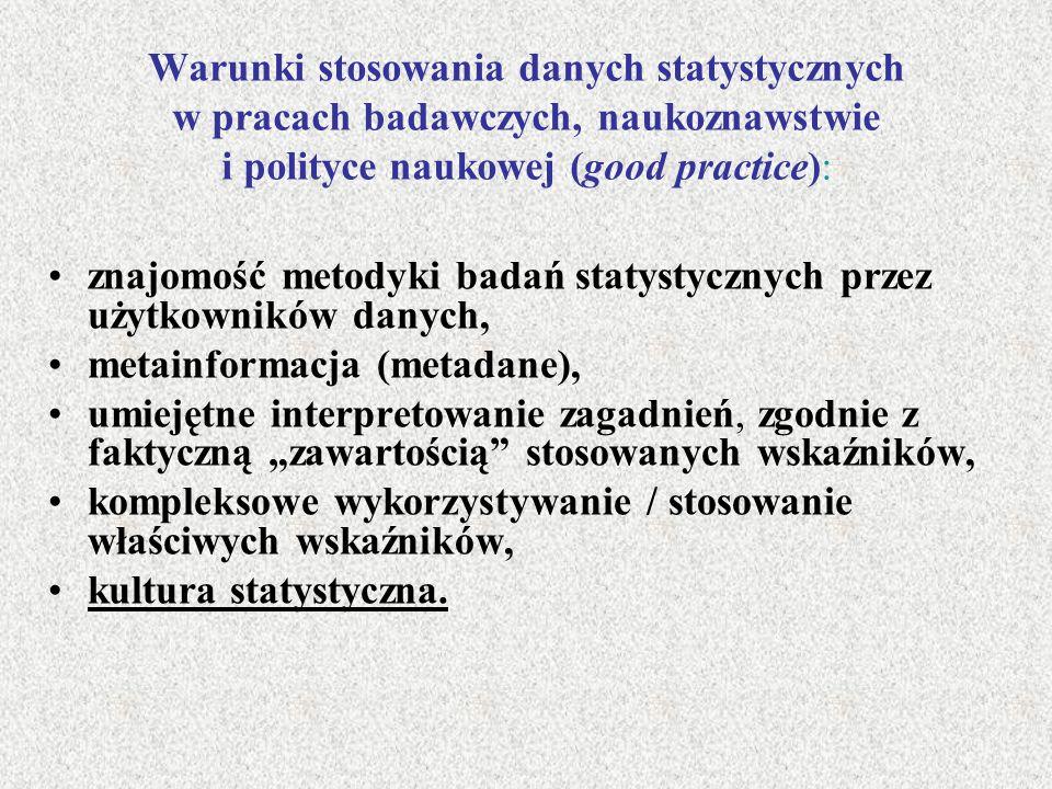 Warunki stosowania danych statystycznych w pracach badawczych, naukoznawstwie i polityce naukowej (good practice): znajomość metodyki badań statystycz