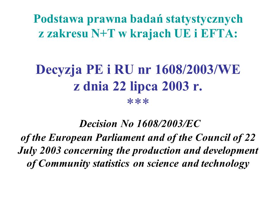 Podstawa prawna badań statystycznych z zakresu N+T w krajach UE i EFTA: Decyzja PE i RU nr 1608/2003/WE z dnia 22 lipca 2003 r. *** Decision No 1608/2