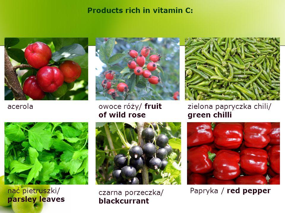 acerolaowoce róży/ fruit of wild rose zielona papryczka chili/ green chilli nać pietruszki/ parsley leaves czarna porzeczka/ blackcurrant Papryka / re