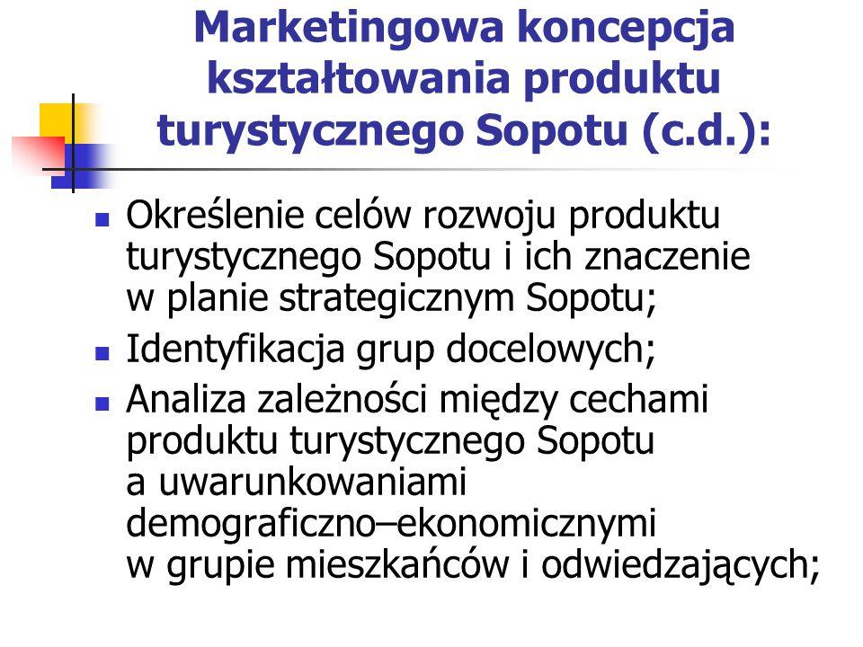 Marketingowa koncepcja kształtowania produktu turystycznego Sopotu (c.d.): Określenie celów rozwoju produktu turystycznego Sopotu i ich znaczenie w planie strategicznym Sopotu; Identyfikacja grup docelowych; Analiza zależności między cechami produktu turystycznego Sopotu a uwarunkowaniami demograficzno–ekonomicznymi w grupie mieszkańców i odwiedzających;