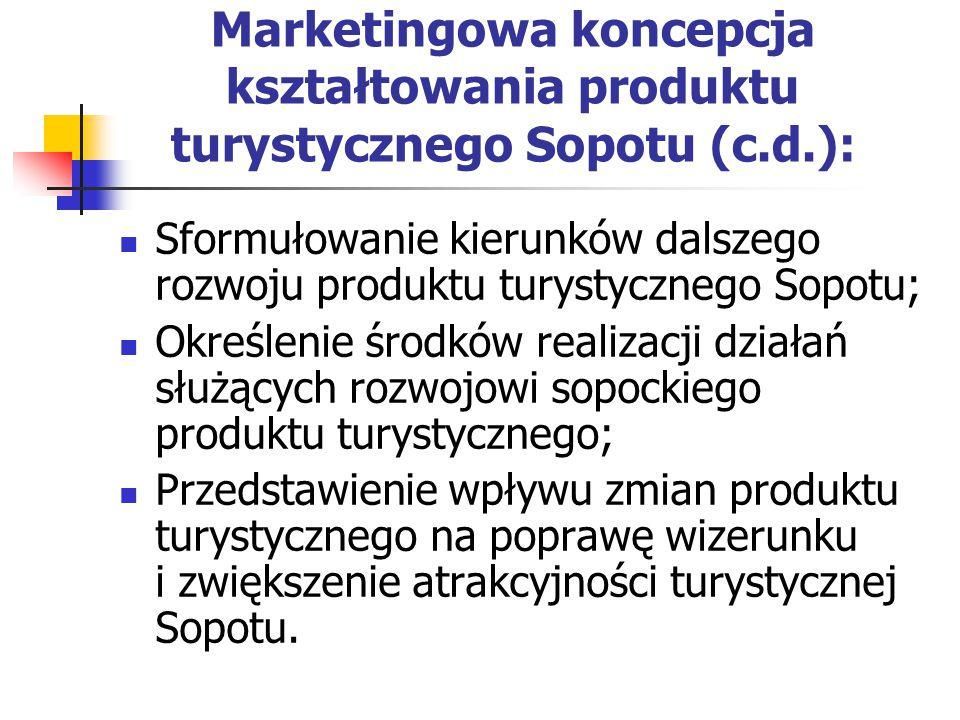 Marketingowa koncepcja kształtowania produktu turystycznego Sopotu (c.d.): Sformułowanie kierunków dalszego rozwoju produktu turystycznego Sopotu; Określenie środków realizacji działań służących rozwojowi sopockiego produktu turystycznego; Przedstawienie wpływu zmian produktu turystycznego na poprawę wizerunku i zwiększenie atrakcyjności turystycznej Sopotu.