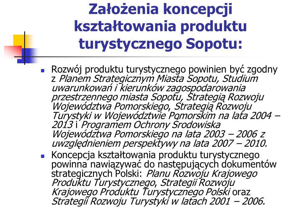 Założenia koncepcji kształtowania produktu turystycznego Sopotu: Rozwój produktu turystycznego powinien być zgodny z Planem Strategicznym Miasta Sopotu, Studium uwarunkowań i kierunków zagospodarowania przestrzennego miasta Sopotu, Strategią Rozwoju Województwa Pomorskiego, Strategią Rozwoju Turystyki w Województwie Pomorskim na lata 2004 – 2013 i Programem Ochrony Środowiska Województwa Pomorskiego na lata 2003 – 2006 z uwzględnieniem perspektywy na lata 2007 – 2010.