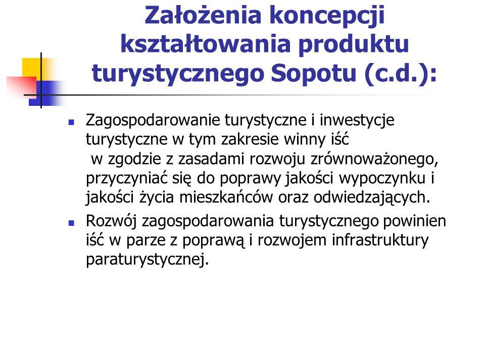 Założenia koncepcji kształtowania produktu turystycznego Sopotu (c.d.): Zagospodarowanie turystyczne i inwestycje turystyczne w tym zakresie winny iść w zgodzie z zasadami rozwoju zrównoważonego, przyczyniać się do poprawy jakości wypoczynku i jakości życia mieszkańców oraz odwiedzających.