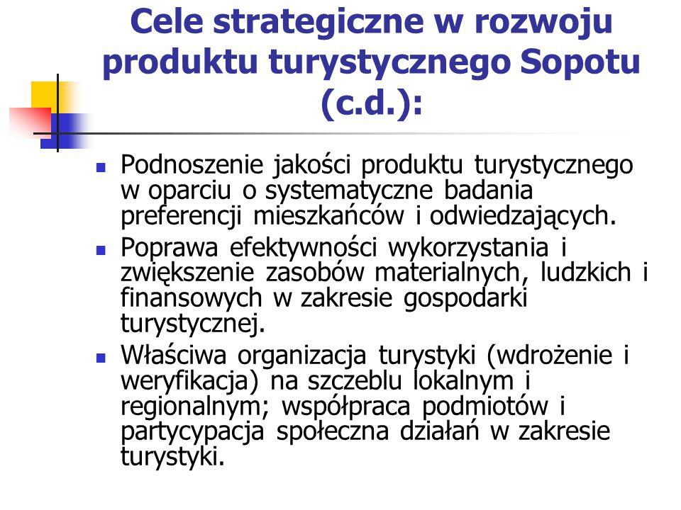 Cele strategiczne w rozwoju produktu turystycznego Sopotu (c.d.): Podnoszenie jakości produktu turystycznego w oparciu o systematyczne badania preferencji mieszkańców i odwiedzających.