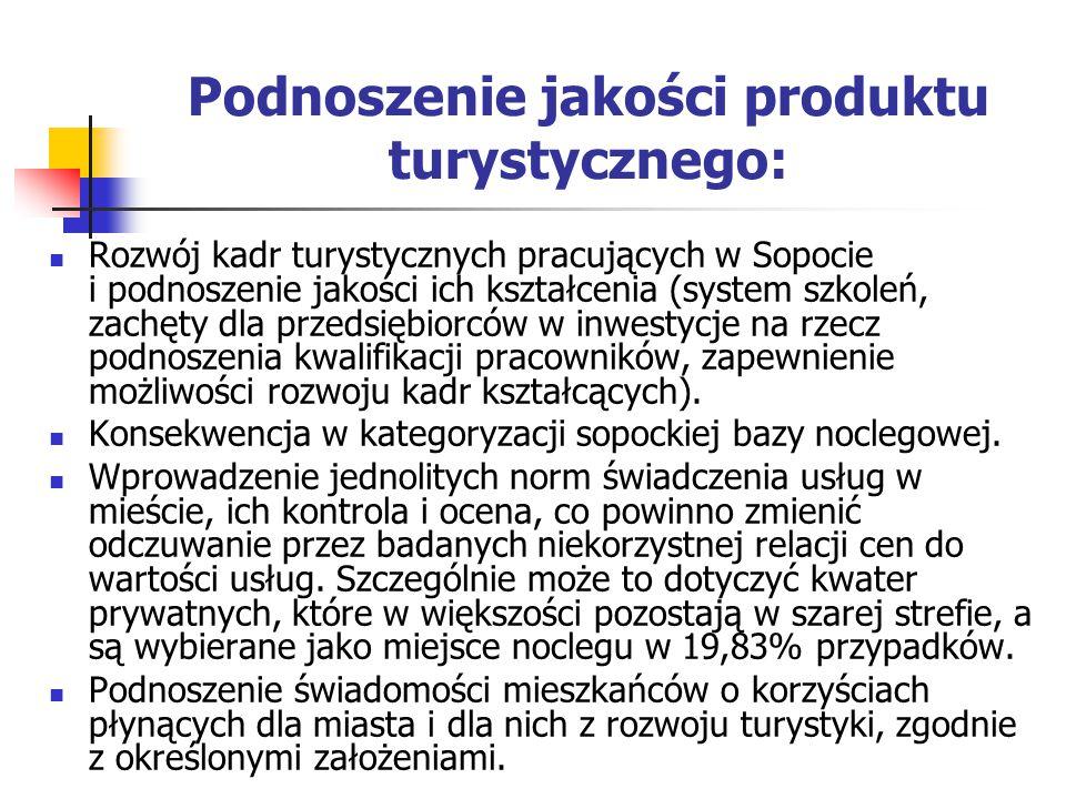 Podnoszenie jakości produktu turystycznego: Rozwój kadr turystycznych pracujących w Sopocie i podnoszenie jakości ich kształcenia (system szkoleń, zachęty dla przedsiębiorców w inwestycje na rzecz podnoszenia kwalifikacji pracowników, zapewnienie możliwości rozwoju kadr kształcących).