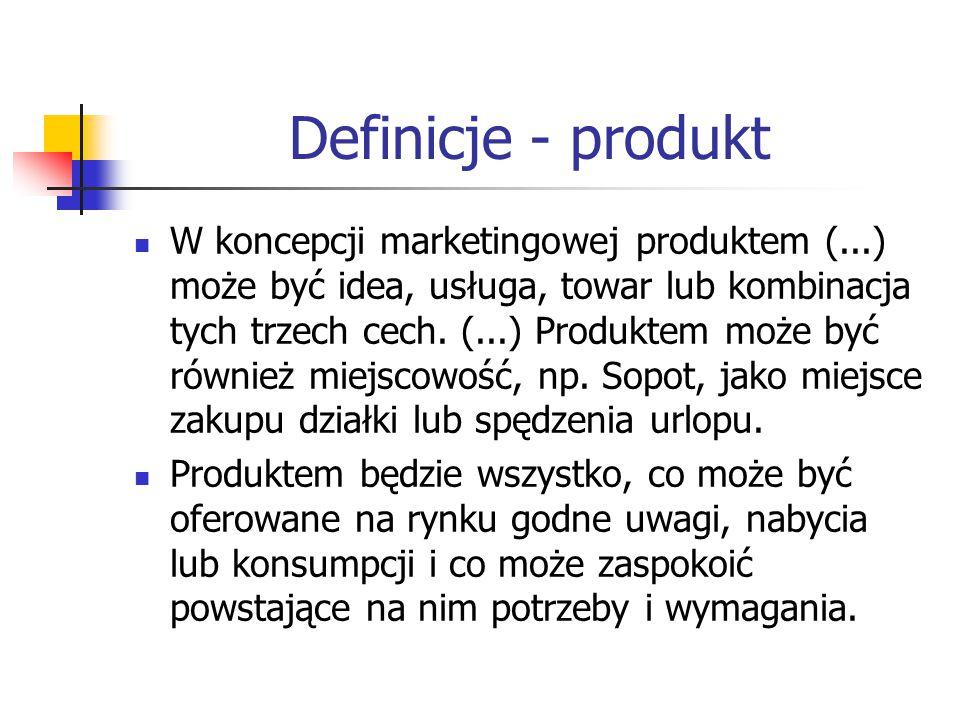 Definicje - produkt W koncepcji marketingowej produktem (...) może być idea, usługa, towar lub kombinacja tych trzech cech. (...) Produktem może być r