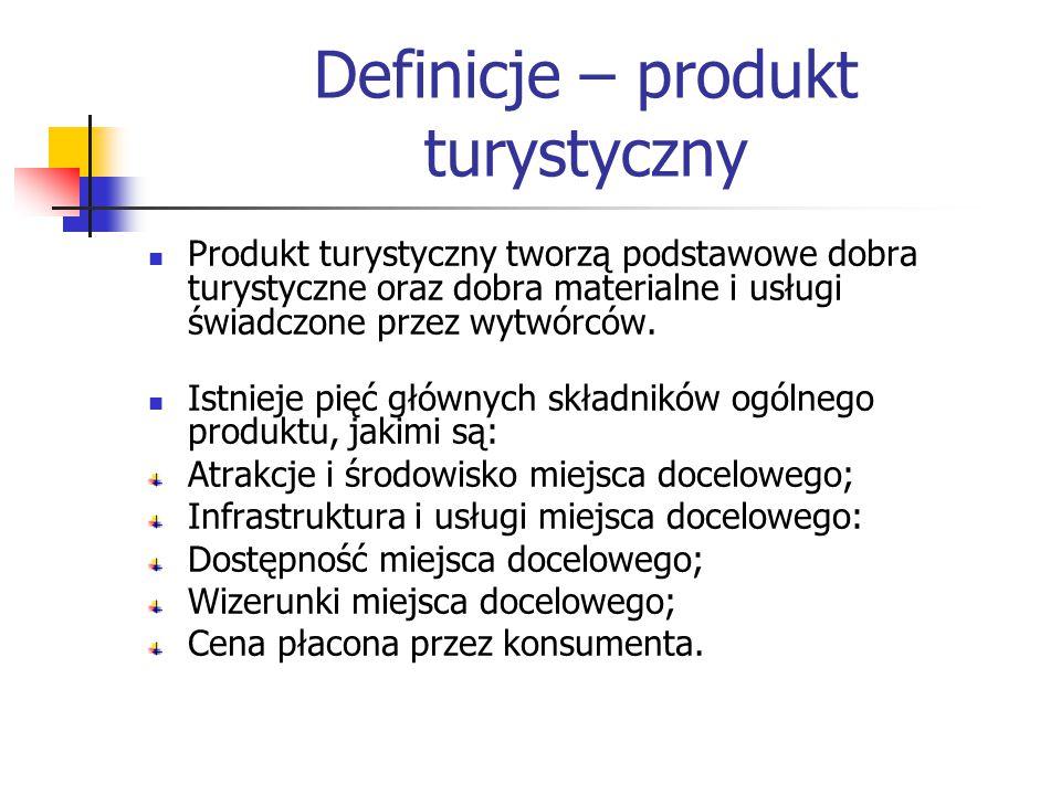 Definicje – produkt turystyczny Produkt turystyczny tworzą podstawowe dobra turystyczne oraz dobra materialne i usługi świadczone przez wytwórców.