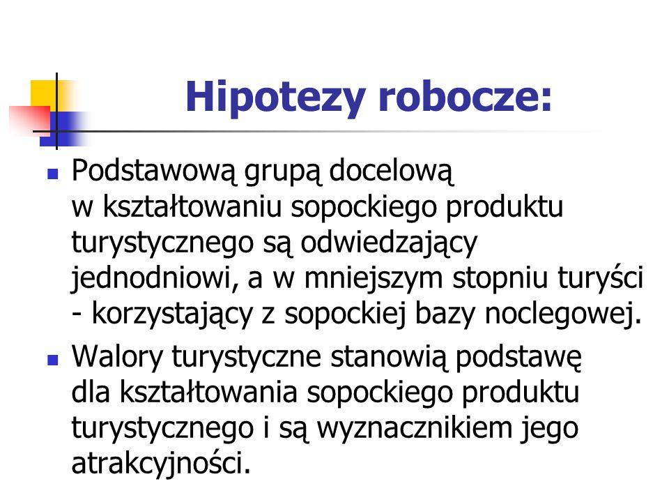 Hipotezy robocze: Podstawową grupą docelową w kształtowaniu sopockiego produktu turystycznego są odwiedzający jednodniowi, a w mniejszym stopniu turyści - korzystający z sopockiej bazy noclegowej.