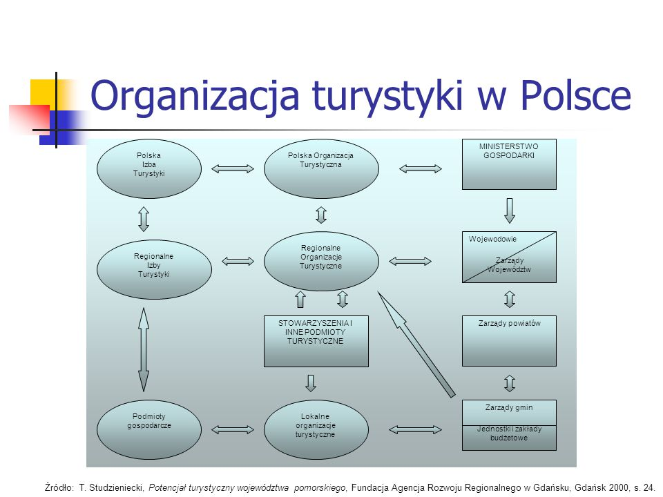 Organizacja turystyki w Polsce MINISTERSTWO GOSPODARKI Wojewodowie Zarządy Województw Zarządy powiatów Zarządy gmin Jednostki i zakłady budżetowe Pols