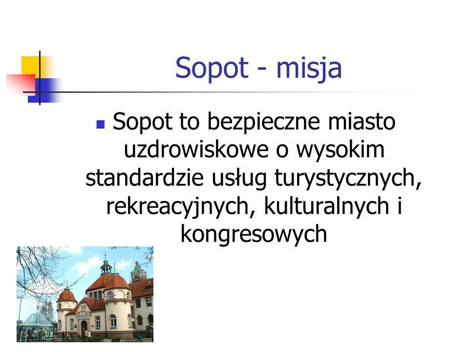 Sopot - misja Sopot to bezpieczne miasto uzdrowiskowe o wysokim standardzie usług turystycznych, rekreacyjnych, kulturalnych i kongresowych