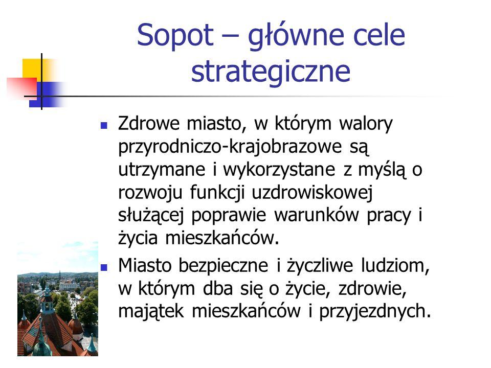 Sopot – główne cele strategiczne Zdrowe miasto, w którym walory przyrodniczo-krajobrazowe są utrzymane i wykorzystane z myślą o rozwoju funkcji uzdrowiskowej służącej poprawie warunków pracy i życia mieszkańców.