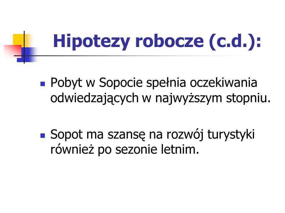 Hipotezy robocze (c.d.): Pobyt w Sopocie spełnia oczekiwania odwiedzających w najwyższym stopniu. Sopot ma szansę na rozwój turystyki również po sezon