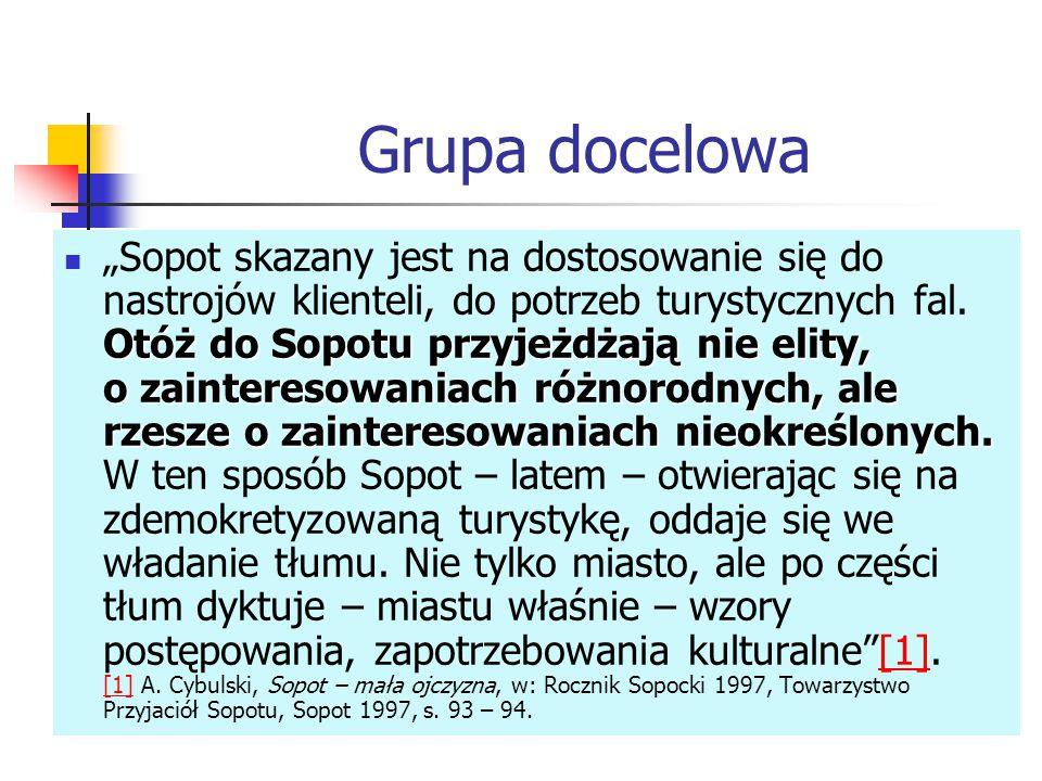 """Grupa docelowa Otóż do Sopotu przyjeżdżają nie elity, o zainteresowaniach różnorodnych, ale rzesze o zainteresowaniach nieokreślonych. """"Sopot skazany"""