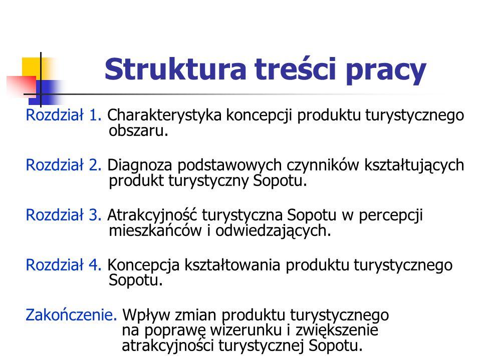 Struktura treści pracy Rozdział 1. Charakterystyka koncepcji produktu turystycznego obszaru. Rozdział 2. Diagnoza podstawowych czynników kształtującyc