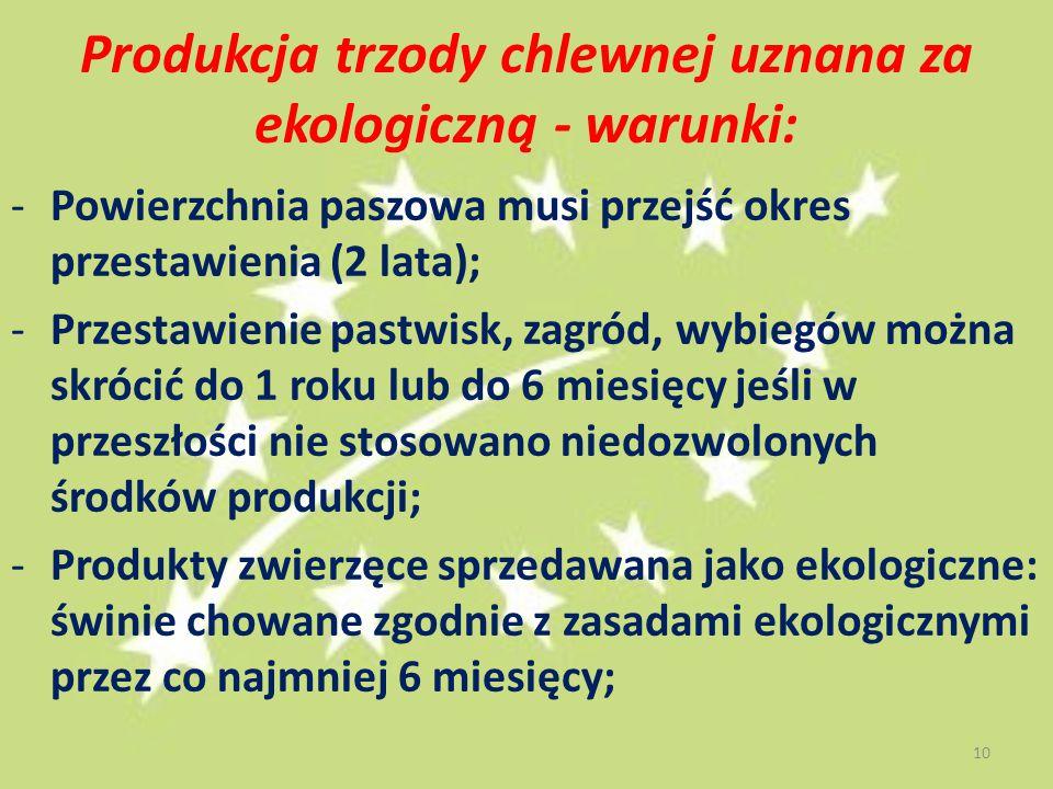 Produkcja trzody chlewnej uznana za ekologiczną - warunki: -Powierzchnia paszowa musi przejść okres przestawienia (2 lata); -Przestawienie pastwisk, zagród, wybiegów można skrócić do 1 roku lub do 6 miesięcy jeśli w przeszłości nie stosowano niedozwolonych środków produkcji; -Produkty zwierzęce sprzedawana jako ekologiczne: świnie chowane zgodnie z zasadami ekologicznymi przez co najmniej 6 miesięcy; 10